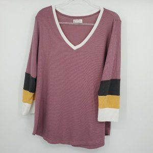 Maurices XL V Neck 3/4 Sleeve Thermal Knit Tee
